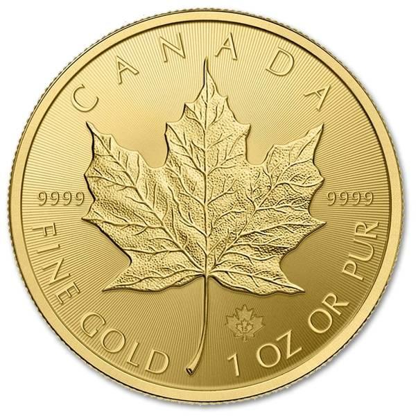Złota moneta Liść Klonowy 1 oz rewers