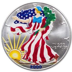 Srebrna kolorowa moneta bulionowa American Eagle 1 oz rewers