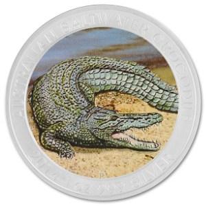 Srebrna kolorowa moneta Krokodyl Słonowodny 1 oz