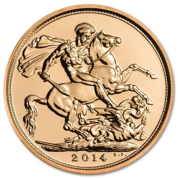 Złota moneta Suweren 2016/17 rewers