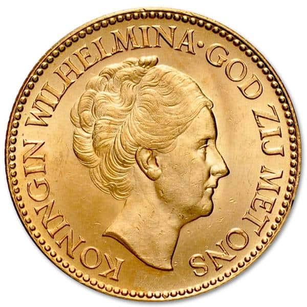 Złota moneta 10 Guldenów Wilhelmina awers