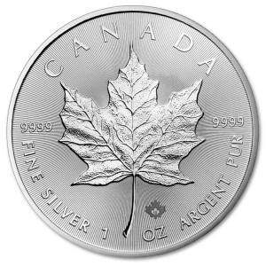 Srebrna moneta Kanadyjski Liść Klonowy 1oz rewers