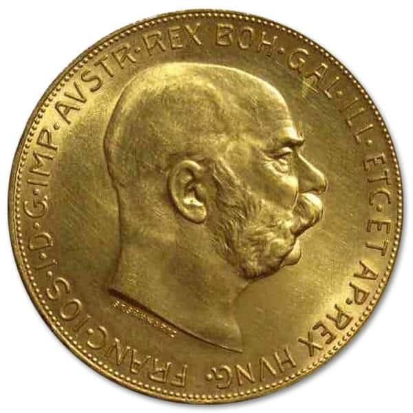 Złota moneta 100 koron Austro-Węgry rewers