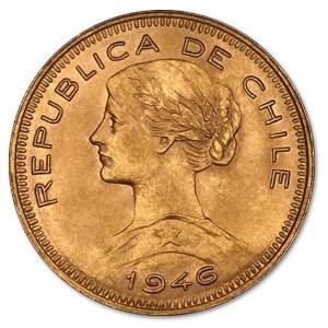 Złota moneta 100 peso Chile awers