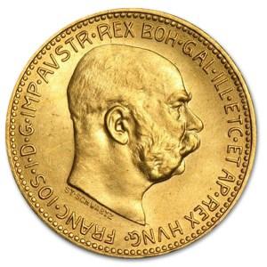 Złota moneta 20 Koron Austro-Węgry rewers