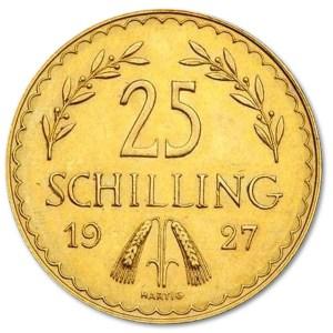 Złota moneta 25 Schillingów Austria rewers