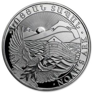 Srebrna moneta Arka Noego 1 oz rewers
