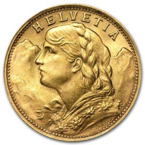 Złota moneta 20 Franków Szwajcaria rewers