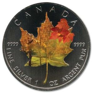 Srebrna kolorowa moneta Kanadyjski Liść Klonowy 1 oz rewers