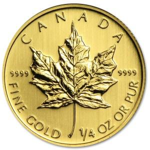 Złota moneta inwestycyjna - obiegowy Liść Kanadyjski 1/4 oz rewers