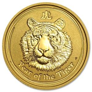 Złota moneta Australijski Lunar II Rok Tygrysa 1/2 oz rewers