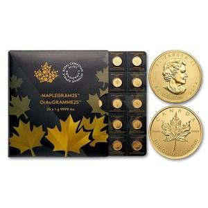 Złote monety MapleGram 25 szt. x 1 g