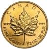 Złota moneta Liść Klonowy 1/2 oz rewers
