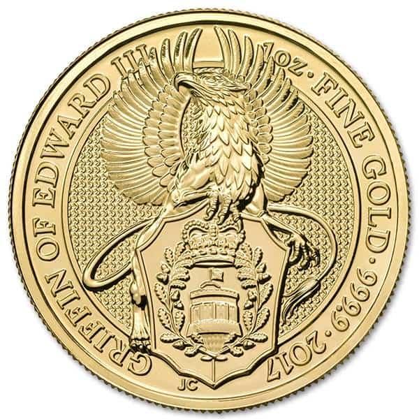Złota moneta Bestie Królowej Gryf Edwarda III 1 oz rewers