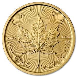 Złota moneta Kanadyjski Liść Klonu 1/4 oz rewers
