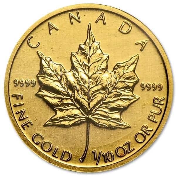 Złota moneta Liść Klonowy 1/10 oz rewers