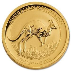 Złota moneta Australijski Kangur 1/2 oz rewers