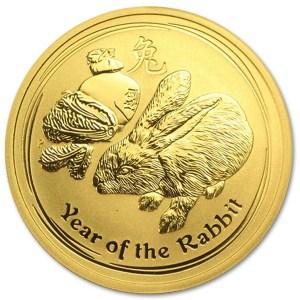 Złota moneta Australijski Lunar II Rok Królika 1/2 oz rewers