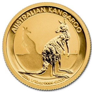 Złota moneta Australijski Kangur 1/10 oz rewers