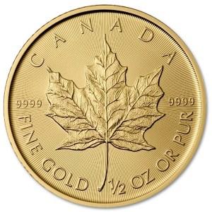 Złota moneta Liśc Klonowy 1/2 oz rewers