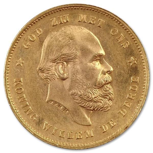 Złota moneta 10 Guldenów Willem III awers