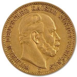 Złota moneta 20 Marek Wilhelm I rewers