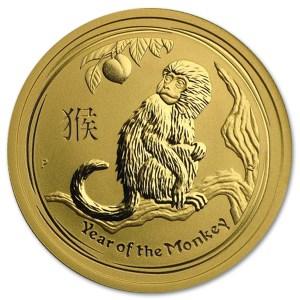 Złota moneta Australijski Lunar II Rok Małpy 1/2 oz rewers