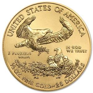 Złota moneta Orzeł Amerykański 1/2 oz rewers