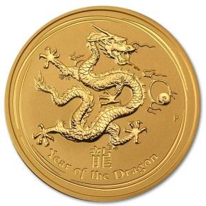 Złota moneta Australijski Lunar II Rok Smoka 1/2 oz rewers