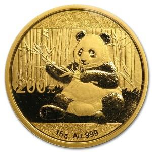Złota moneta lokacyjna Chińska Panda 15g rewers
