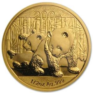 Złota moneta lokacyjna Chińska Panda 1/2 oz rewers