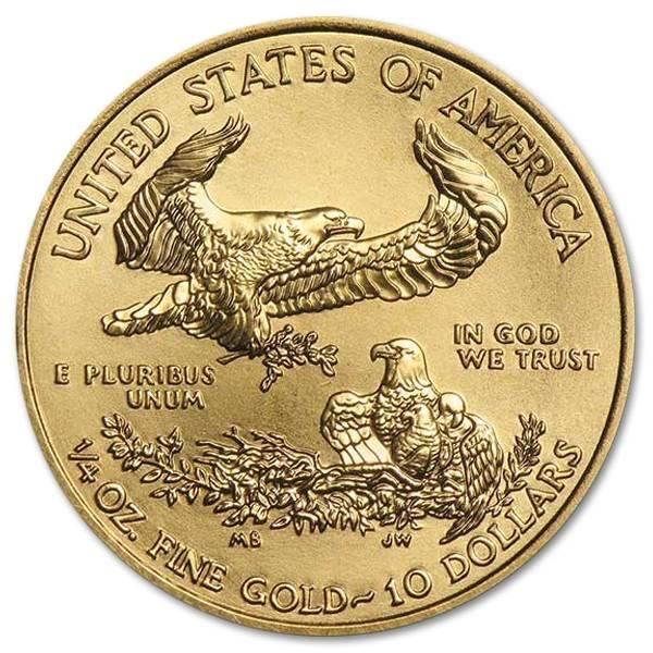 Złota moneta Orzeł Amerykański 1/4 oz rewers