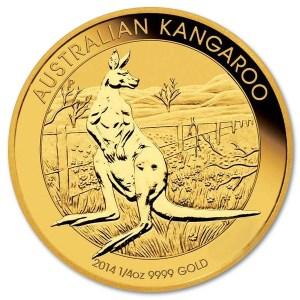 Złota moneta inwestycyjna Australijski Kangur 1/4 oz rewers