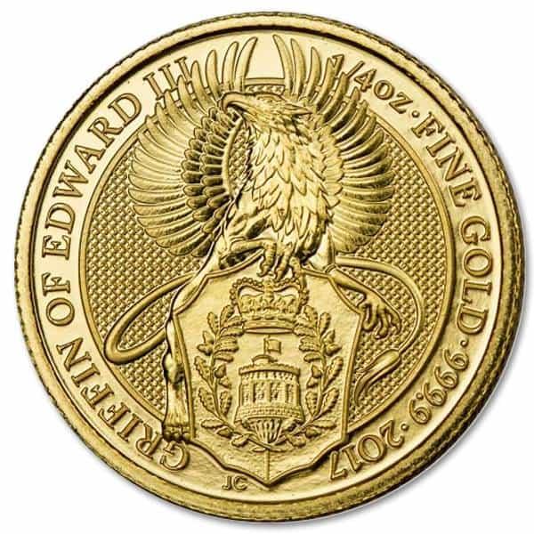 Złota moneta Bestie Królowej Gryf Edwarda III 1/4 oz rewers