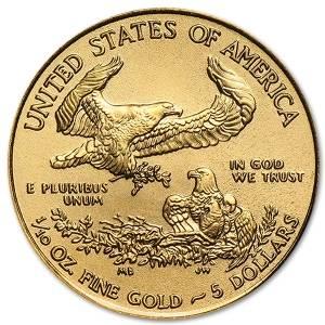Złota moneta Amerykański Orzeł 1/10 oz rewers