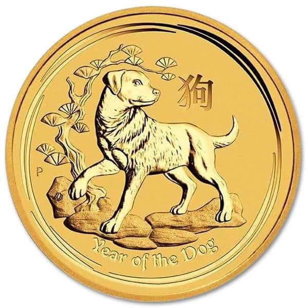 Złota moneta Australijski Lunar II Rok Psa 1/4 oz rewers