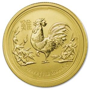 Złota moneta Australijski Lunar II: Rok Koguta 1/4 oz rewers