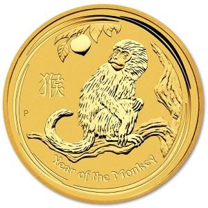 Złota moneta Australijski Lunar II Rok Małpy 1/4 oz rewers