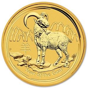 Złota moneta Australijski Lunar II Rok Kozy 1/4 oz rewers