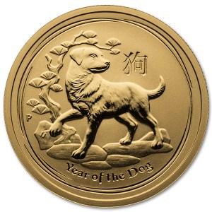 Złota moneta Australijski Lunar II Rok Psa 1/2 oz rewers