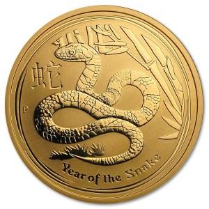 Złota moneta Australijski Lunar II Wąż 1/2 oz rewers