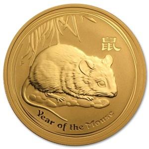 Złota moneta Australijski Lunar II Mysz 1/2 oz rewers