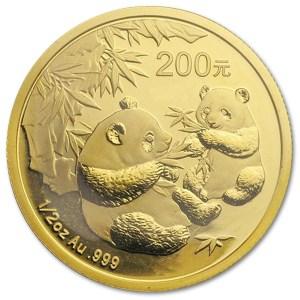 Złota moneta Chińska Panda 1/2 oz rewers