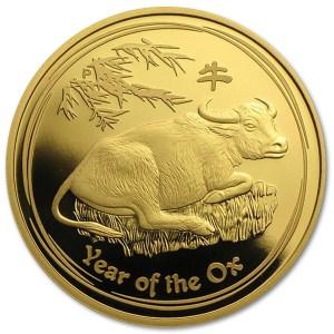 Złota moneta Australijski Lunar II Rok Wołu 1/2 oz rewers