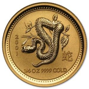 Złota moneta Australijski Lunar I Rok Węża 1/4 oz rewers