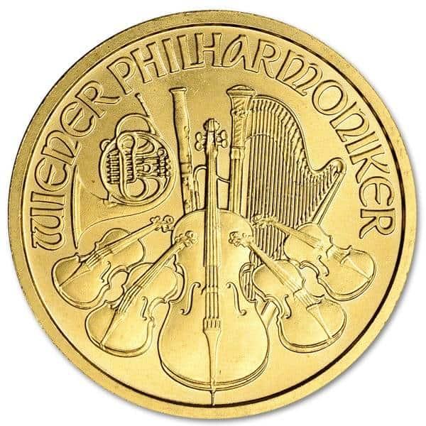 Złota moneta Wiedeńscy Filharmonicy 1/2 oz rewers