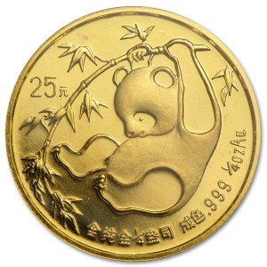 Złota moneta lokacyjna Chińska Panda 1/4oz rewers