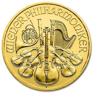 Złota moneta Wiedeńscy Filharmonicy 1/4 oz rewers