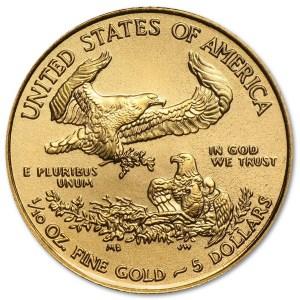 Złota moneta Orzeł Amerykański 1/10 oz rewers