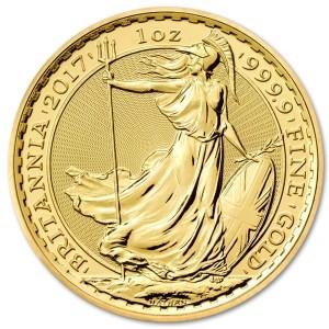 Złota moneta lokacyjna Britannia 1/10 oz rewers